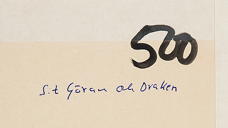 C göran karlsson, tempera on paper, signed cgk and dated -85.