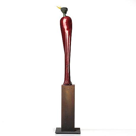 Kjell engman, a unique glass sculpture 'nobelman', kosta boda, sweden.