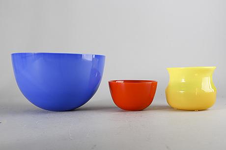 Sven palmqvist, a set of six colora glass bowls.