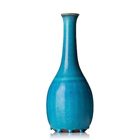 "Wilhelm kåge, a turquoise glazed ""farsta"" stoneware vase, gustavsberg studio, sweden 1956."