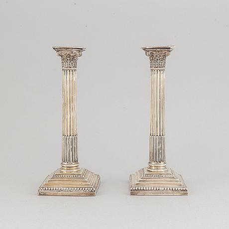 Ljusstakar, ett par, silver, sheffield, omkr 1900.