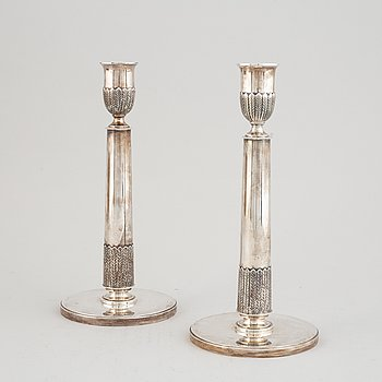 A pair of Swedish mid 2oth century sterling silver candlesticks, mark of CF Carlman, Stockholm 1950.