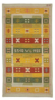 261. Agda Österberg, a carpet, flat weave, ca 335,5-338 x 182,5 cm, woven 25-10 VL 1955 and AÖ.