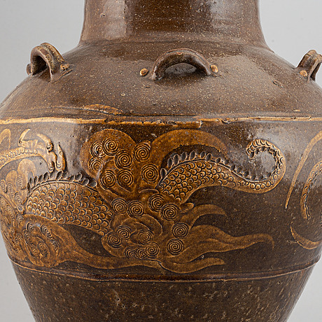 A ceramic martaban jar, southeast asia, 19th century.