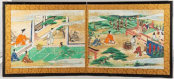 A Japanese two fold screen, 20th century.