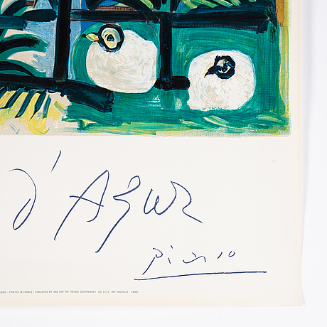 Pablo picasso, after, color lithographic poster made by henri deschamps, signed in print.