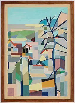 Leida Rives-Elfvén, watercolour, isgned and dated Los Angeles 1953.