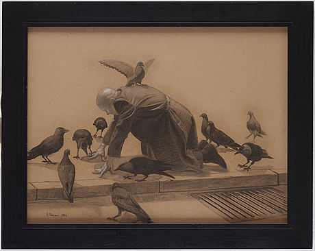 Alexander klingspor, charcoal on paper, signed and dated 2011.