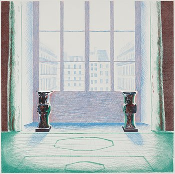 "440. David Hockney, ""Two vases in the Louvre""."