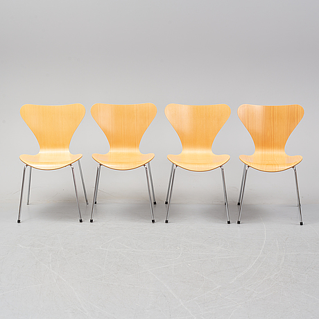 "Arne jacobsen,  a set of four ""sjuan"" chairs from fritz hansen, denmark, 2000."