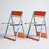 """Igor cronsioe, a pair of folding chairs, """"sudden seat"""", ed. 76/95 & 87/95, futura gallery, stockholm, sweden 1983."""