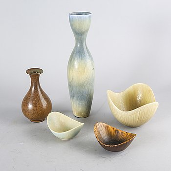 Gunnar Nylund, bowl and Carl Harry Stålhane, 4 pcs Gn, 1 Carl Harry.