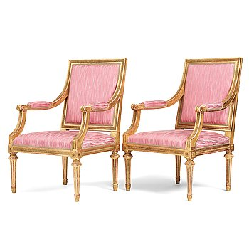 53. A pair of Gustavian armchairs by E Öhrmark (working 1777-1813) and Jean Baptiste Masreliez (1753-1801).