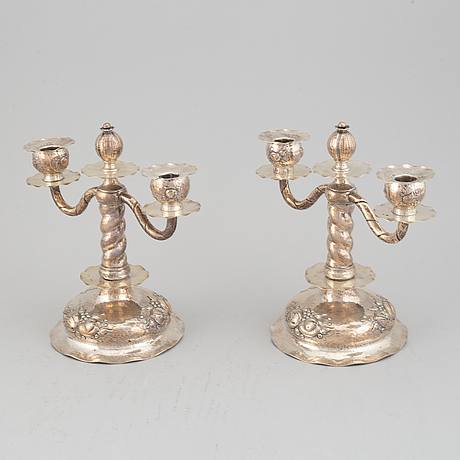 A pair of silver candelabra, cg hallberg, stockholm 1930.