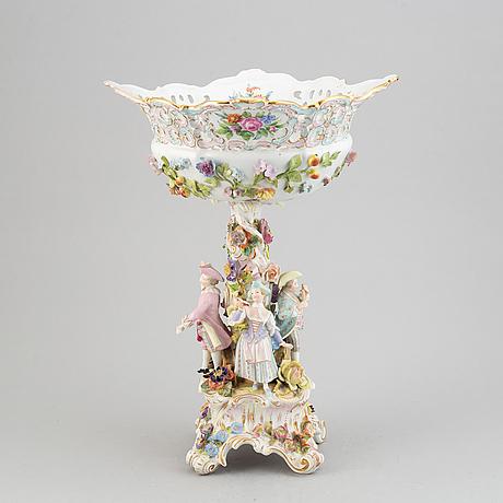 A large pocelain centerpiece, late 19th century. meissen like mark.