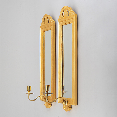 """A pair of swedish gustavian style wall sconses """"regnaholm"""" made by ikea, 1990s."""