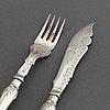 Fiskbestick, 24 st, nysilver, england, 1900-tal.