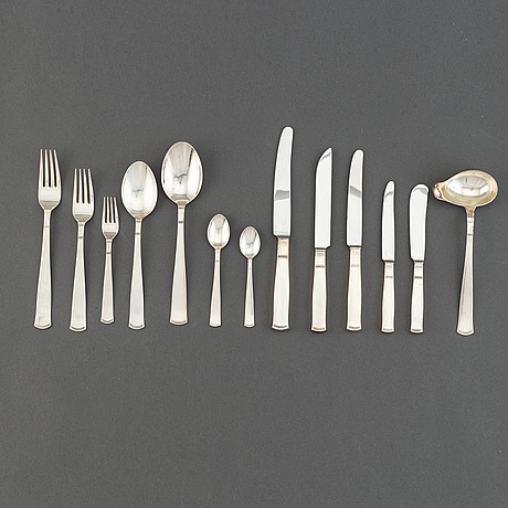 """A 108-pcs silver part flatware service, model """"rosenholm, gab, stockholm, sweden, 1960s."""