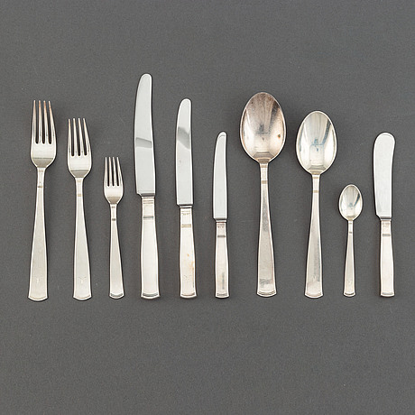 "A 107-pcs part silver flatware service ""rosenholm"", gab, sweden, 1960s."