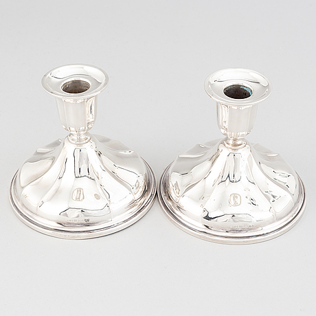 A pair of norwegian silver candle sticks, mid 20th century.