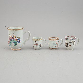 Four famille rose export porcelain cups, Qing dynasty, Qianlong (1736-95).