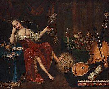 Okänd Konstnär 1600-tal , osignerad. Duk uppklistrad på pannå 115 x 139 cm.