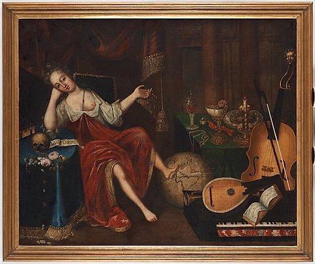 Vanitas med silverföremål, musikinstrument och döskalle.