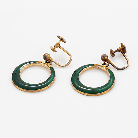O.f hjortdahl and hans myhre, sterling silver and green enamel earrings and brooch. norway.
