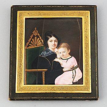 Caroline Franziska Tridon. Miniature. Signed.