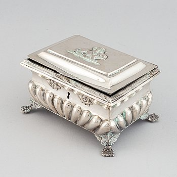 A silver sugar box, probably Poland, 19th century.