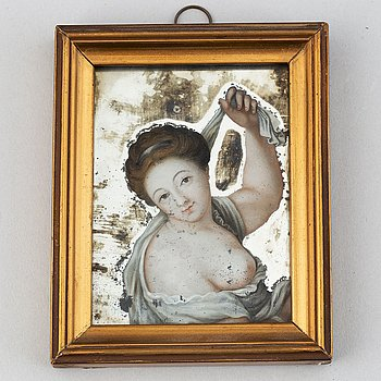 Unknown artist 18th/19th Century. Reverse mirror painting. Miniature.