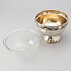 H. meyen & co. (1846- ca 1950. a silver bowl on foot with a glass insert, german hallmarks, early 20th century.
