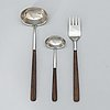 """Bertel gardberg, a 3-piece set of serving cutlery, steel and hardwood, """"lion de luxe"""" hackman, finland. designed in 1958."""