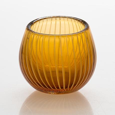 Nanny still, a 'pallo' glass vase, model 6433, signed  nanny still riihimäen lasi oy. design year 1953.