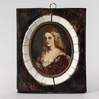 Okänd konstnär 1800-tal. Miniatyr. Signerad.