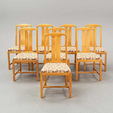 Carl malmsten, matgrupp, bord och 8 stolar. åfors möbelfabriks.