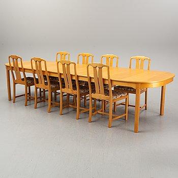 "A Carl Malmsten 9-peice ""Ambassaör"" birch dining suite. Åfors Möbelfabrik."