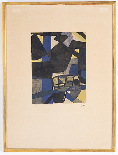 Maurice estève, lithograph in colors, signed and numbered 64/80.