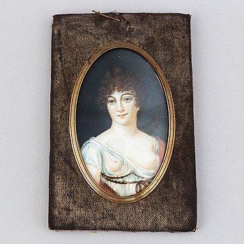 Okänd konstnär 1800-tal. Miniatyr. Otydlig signatur.