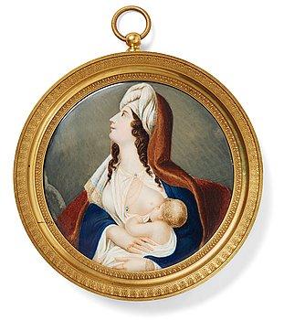 Unknown artist 19th Century. Unsigned. Miniature. Image: diameter: 10.5 cm. Gilded Empire frame.