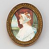 George romney, after. miniature. signature. 19th century.