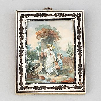 Unknown artist 19th Century. Miniature. Unclear signature.