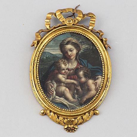 Antonio allegri correggio, hans art. miniatyr. 17/1800-tal. osignerad.
