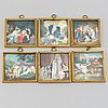 Unknown artist 19th century, 6 miniatures. unsigned. watercolour and gouache.