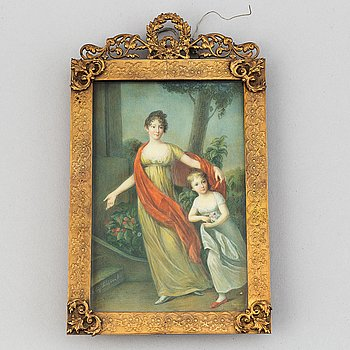 Unknown artist 19th Century. Miniature. With signature.