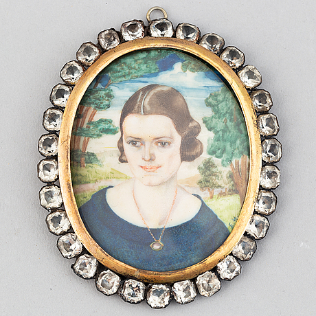 Unknown artist 20th century. miniature. signed with initials.