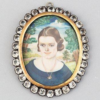 Okänd konstnär 1900-tal. Miniatyr. Signerad med initialer.