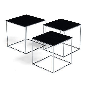 "59. Poul Kjaerholm, a set of ""PK-71"" occasional tables, probably for E Kold Christensen, Denmark."