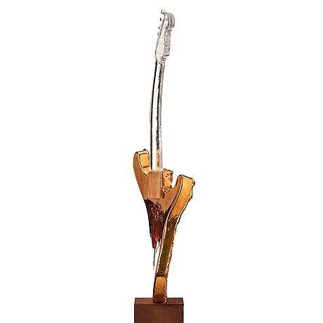 Kjell engman, a unique cast glass sculpture of a guitar, kosta boda, sweden.