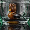 Ernst billgren, a glass pitcher decoreted with green leaves and a duck.